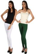 Pack Of 2 - Rham White & Bright Green Cotton Lycra Slim Fit Leggings