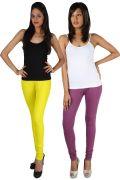 Pack Of 2 - Rham Lemon & Onion Cotton Lycra Slim Fit Leggings