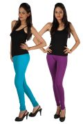 Pack Of 2 - Rham Teal Blue & Purple Cotton Lycra Slim Fit Leggings