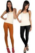 Pack Of 2 - Rham Rust & Black Cotton Lycra Slim Fit Leggings