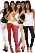 Rham Set Of 5 Multi Color Cotton Lycra Full Length Leggings