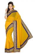 De Marca Yellow Faux Chiffon Saree - 161 A
