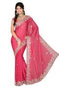 De Marca Carrot Pink Satin Chiffon Saree - 5009