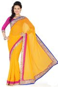 De Marca Yellow Faux Georgette Saree - G-155