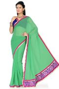 De Marca Green Faux Georgette Saree - G-163