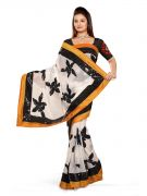 De Marca Off White Chiffon Saree - M142