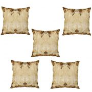 Stybuzz Beige Abstract Art Cushion Cover- Set Of 5