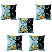 Stybuzz Blue Floral Abstract Art Cushion Cover- Set Of 5