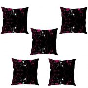 Stybuzz Black Floral Abstract Cushion Cover- Set Of 5