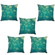 Stybuzz Green Leaf Print Cushion Cover- Set Of 5