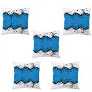 Stybuzz Blue And White Floral Abstract Art Cushion Cover- Set Of 5
