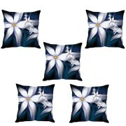 Stybuzz White Floral Abstract Cushion Cover- Set Of 5