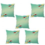 Stybuzz Baby Blue Floral Art Cushion Cover- Set Of 5