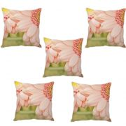 Stybuzz Baby Pink Flower Cushion Cover- Set Of 5
