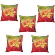Stybuzz Yellow Flower Cushion Cover- Set Of 5