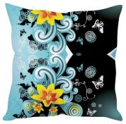 Stybuzz Blue Floral Abstract Art Blue Cushion Cover