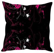 Stybuzz Black Floral Abstract Black Cushion Cover