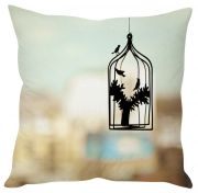Stybuzz Bird Cage Abstract Art Cream Cushion Cover