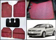 Washable Car Floor Mats For Volkswagen Polo - (Aster Design - Red & Black)