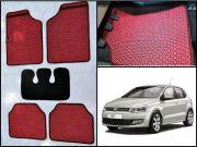 Washable Car Floor Mats For Volkswagen Polo - (Kawaii Design - Red & Black)