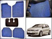 Washable Car Floor Mats For Volkswagen Polo - (Capsule Design - Blue & Black)
