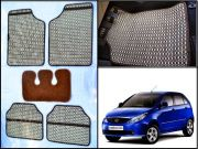 Washable Car Floor Mats For TATA Indica Vista - (Capsule Design - Beige & Brown)