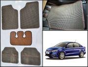 Washable Car Floor Mats For Volkswagen Vento - (Retro Design - Brown & Black)