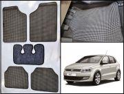 Washable Car Floor Mats For Volkswagen Polo - (Retro Design - Grey & Black)
