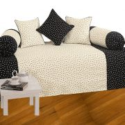 Fabulloso Black And White Spotted Diwan Set