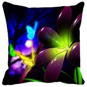 Leaf Designs Purple & Green Flower Cushion Cover - Code  53863042091