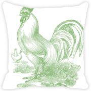 Fabulloso Leaf Designs Monochromatic Green Rooster Cushion Cover - 12x12 Inches