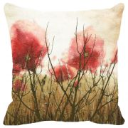 Fabulloso Leaf Designs Misty Red Floral Cushion Cover - 18x18 Inches