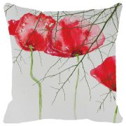 Fabulloso Leaf Designs Spring Red Floral Cushion Cover - 16x16 Inches