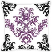 Fabulloso Leaf Designs Black And Purple Cushion Cover - 18x18 Inches
