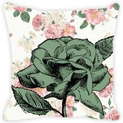 Fabulloso Leaf Designs Vintage Green Rose Cushion Cover - 8x8 Inches