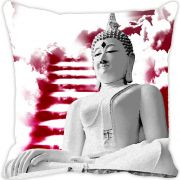 Fabulloso Leaf Designs Buddha Red Cushion Cover - 18x18 Inches
