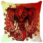 Fabulloso Leaf Designs Ganesha Red Cushion Cover - 18x18 Inches