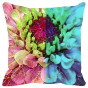Fabulloso Leaf Designs Multicoloured Blue Hues Floral Cushion Cover - 16x16 Inches