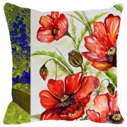 Fabulloso Leaf Designs Dual Red & Blue Floral Cushion Cover - 16x16 Inches