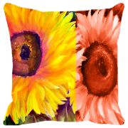 Fabulloso Leaf Designs Yellow & Orange Floral Cushion Cover - 16x16 Inches