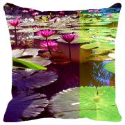 Fabulloso Leaf Designs Pink & Green Lotus Cushion Cover - 16x16 Inches