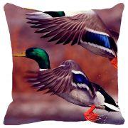 Fabulloso Leaf Designs Blue Green Flying Bird Cushion Cover - 18x18 Inches