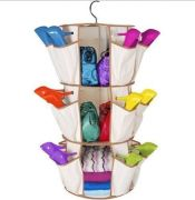 360 Spin 3 Shelves 24 Pocket Carousel Shoe Rack Organizer