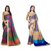 Styloce Set Of 2 Bhagalpuri Silk Saree Combo . Sty-8971-9069