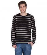 Hypernation Black & White Striped Round Neck Cotton T-Shirt