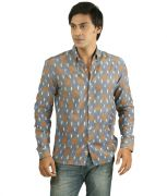 Hypernation Grey Color Printed Cotton Shirt