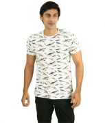 Hypernation Shark Print White Color Round Neck T-Shirt
