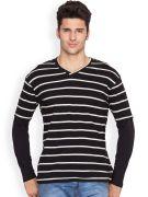 Hypernation Black & White Stripe With Solid Black Sleeve Men V-Neck T-shirt