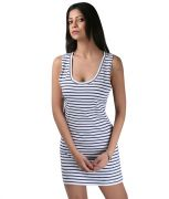 Hypernation Blue And White Color Stripped Women Dress