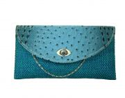 Estoss Blue Clutch For Womens With Long Metal Sling Chain